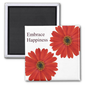 Embrace Happiness Daisies 2 Inch Square Magnet