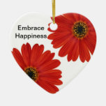 Embrace Happiness Daisies Christmas Tree Ornaments