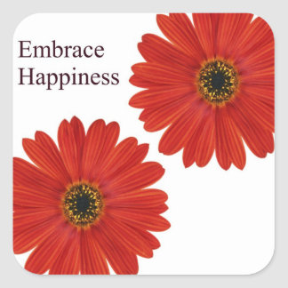 Embrace Happiness Daisies Square Sticker