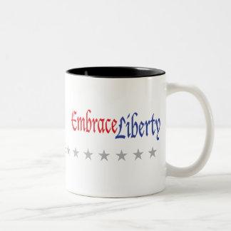 Embrace Liberty, Embrace Liberty, Black Screene... Two-Tone Coffee Mug