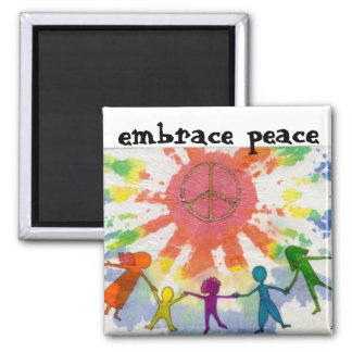 Embrace Peace Mixed Media Artwork 2 Inch Square Magnet