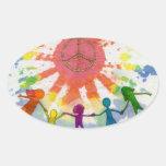 Embrace Peace Mixed Media Artwork Oval Sticker