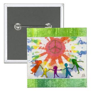 Embrace Peace Mixed Media Artwork Pinback Button