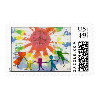 Embrace Peace Mixed Media Artwork Postage Stamp