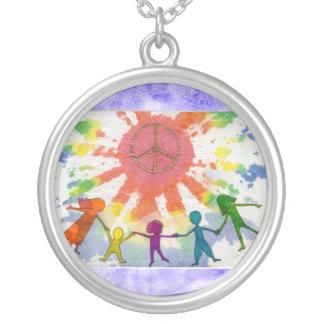 Embrace Peace Mixed Media Artwork Round Pendant Necklace