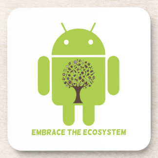 Embrace The Ecosystem (Android Bug Droid Oak Tree) Beverage Coaster