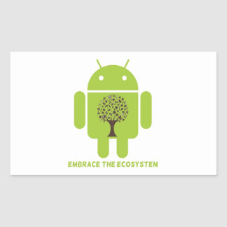 Embrace The Ecosystem (Android Bug Droid Oak Tree) Rectangular Sticker