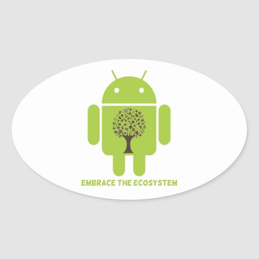Embrace The Ecosystem (Android Bug Droid Oak Tree) Oval Sticker