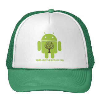 Embrace The Ecosystem (Bug Droid Brown Tree) Trucker Hat
