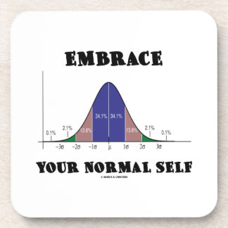 Embrace Your Normal Self (Bell Curve Humor) Beverage Coaster
