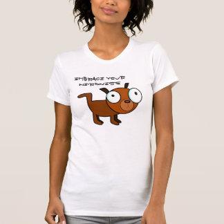 Embrace your Weirdness, Cute Comic Dog. dark text T-shirt