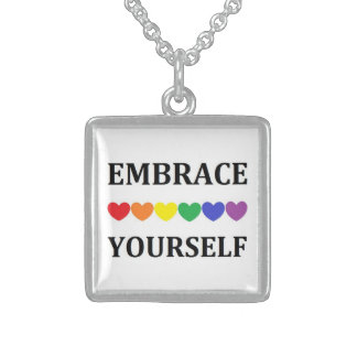Embrace yourself rainbow heart  necklace