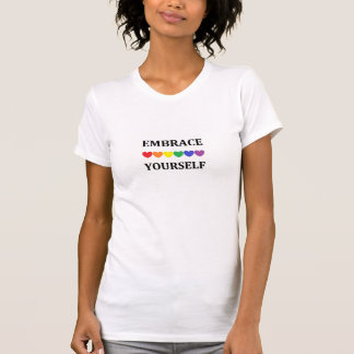 Embrace yourself rainbow heart t-shirt