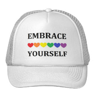 Embrace Youself rainbow heart cap
