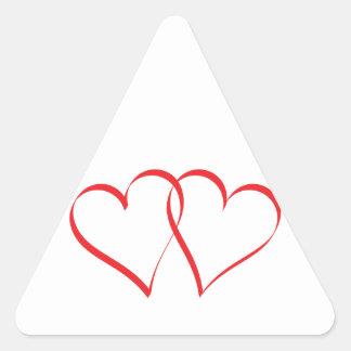 Embracing Hearts Triangle Sticker