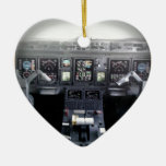 Embraer 145 Flight Deck Double-Sided Heart Ceramic Christmas Ornament