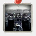 Embraer 145 Flight Deck Square Metal Christmas Ornament