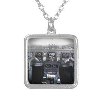 Embraer 145 Flight Deck Silver Plated Necklace