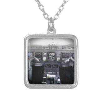 Embraer 145 Flight Deck Square Pendant Necklace