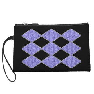 Embrague de la chispa del diamante púrpura y negro