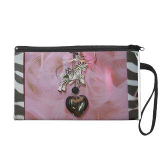 Embrague rosado del estampado de zebra del amor