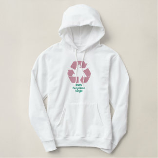 Embroidered 100% Recyclable Single Women Hoodie