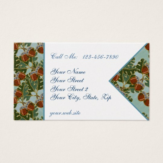 Embroidered Acorn and Oak Business Cards