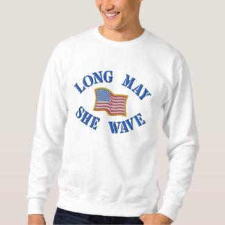 Embroidered American Flag on Sweatshirt