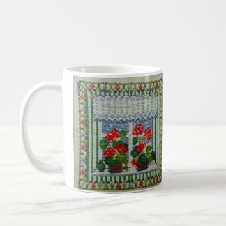 Embroidered art cross point window with flowers coffee mug