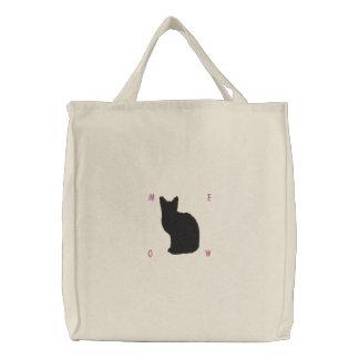 Embroidered Black Cat Bag