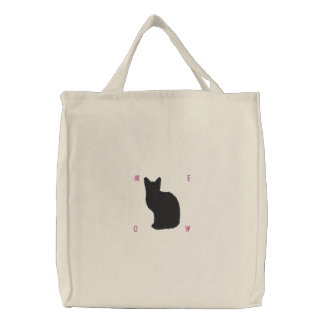 Embroidered Black Cat Bag