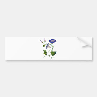 Embroidered Blue Morning Glories Car Bumper Sticker