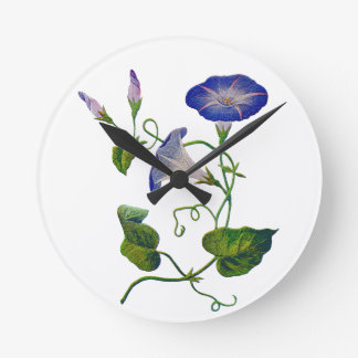 Embroidered Blue Morning Glories Round Clock