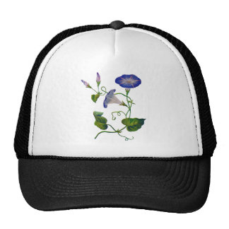 Embroidered Blue Morning Glories Trucker Hat