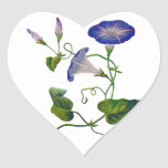 Embroidered Blue Morning Glories Heart Sticker