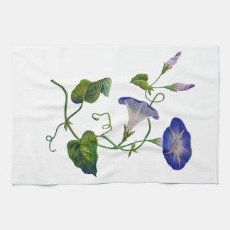Embroidered Blue Morning Glories Kitchen Towel