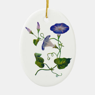 Embroidered Blue Morning Glories Ornament