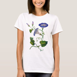 Embroidered Blue Morning Glories T-Shirt