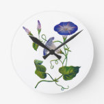 Embroidered Blue Morning Glories Wall Clock
