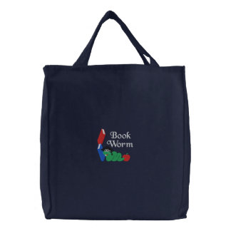Embroidered Bookworm Tote Bag