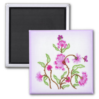 Embroidered Bouquet 2 Inch Square Magnet