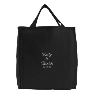 Embroidered Bride/ Groom Names & Date Wedding Tote