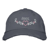 EMBROIDERED BRIDE & HEART CREST EMBROIDERED BASEBALL CAP