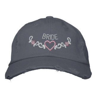 EMBROIDERED BRIDE & HEART CREST EMBROIDERED BASEBALL CAPS