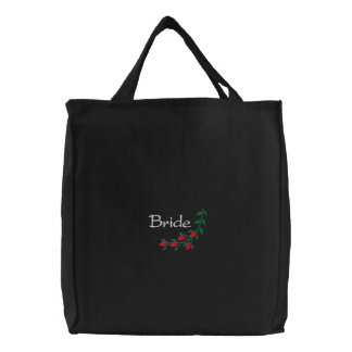 Embroidered Bride's Tote Bag With Red Roses