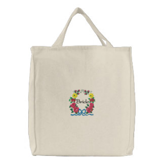 Embroidered Bride's Tote Bag With Roses