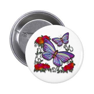 embroidered butterflies pinback button