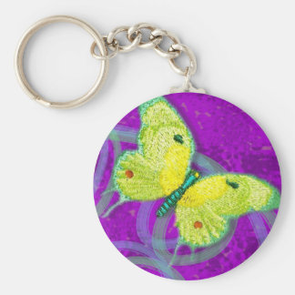 Embroidered Butterfly Dreams Basic Round Button Keychain