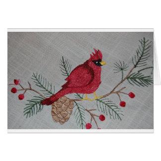Embroidered Cardinal Card