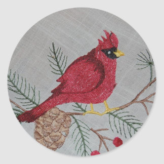 Embroidered Cardinal Classic Round Sticker